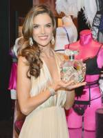 Alessandra Ambrosio posing with Victoria's Secret $500,000 Bombshell Fantasy Fragrance