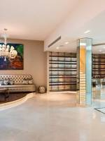 Well polished-wood floored champagne bar