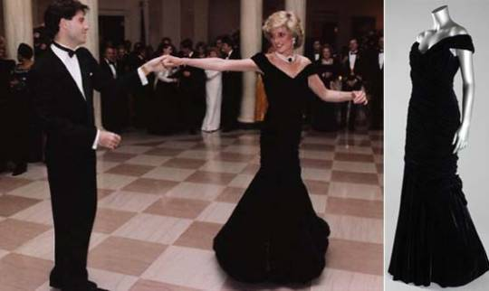 Princess Diana's Midnight-Blue Velvet Gown Worn To Dance With John Travolta in 1985 is up for grabsPrincess Diana's Midnight-Blue Velvet Gown Worn To Dance With John Travolta in 1985 is up for grabs