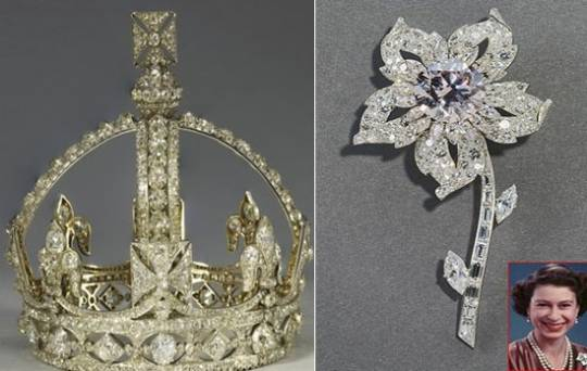 .Queen Victoria's miniature personal crown and Queen's Williamson Brooch