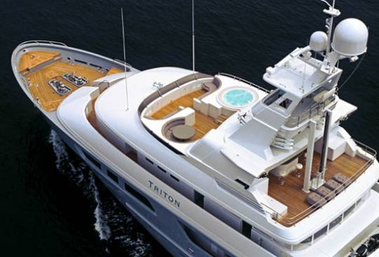 Triton Yacht's flybridge top view with the satellite based navigation system
