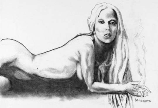 Lady Gaga nude sketch by Tony Bennett