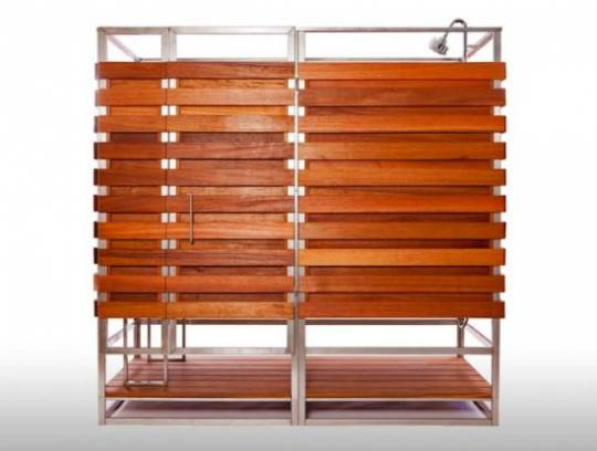 Oborain, a $4,300 prefab outdoor shower unit made out of Sustainable hardwood