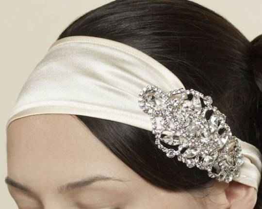 Victorian Crystal and Silk Satin Headwrap