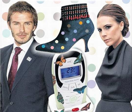 David and Victoria Beckham with their Damien Hirst collection