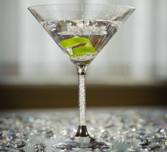 The Goring Hotel's Diamond Jubilee cocktail is served in a Swarowski crystal cocktail glass