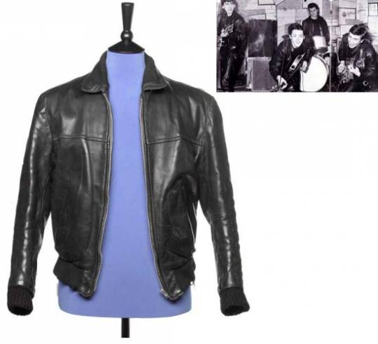 George Harrison's stage worn black leather jacket is one of the most important items of Beatles clot