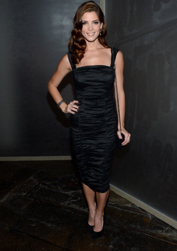 Ashley Greene donned beautiful Ruched Dark Blue Dress from the Donna Karan Resort 2013 collection