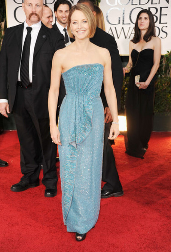 The actress flaunted her customized designer strapless Armani gown to the 69th annual Golden Globes award.
