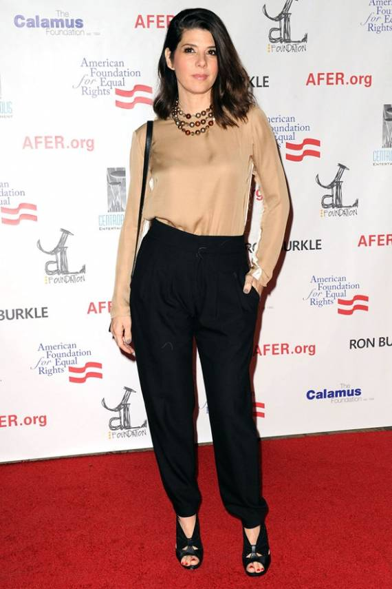 Marisa Tomei wears supports Artists for Peace and Justice