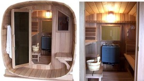 Outdoor Barrel sauna with optional porch from Callaway Woodworks