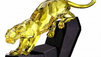 Swarovski Limited Online Edition Lime Panther sculpture