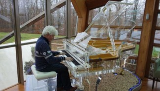 Crystal Music Company's handcrafted transparent Grand Pianos can be personalized for every interior design