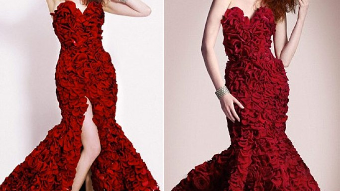 Valentine's Day dress made of roses is Asda's answer to Bellagio's flower art