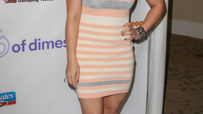 Hilary Duff wears Giuseppe Zanotti Fall 2012 Gold Heel Pumps