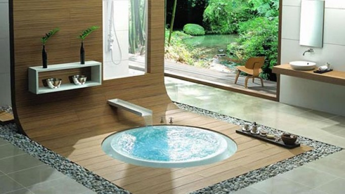 Kasch's in-floor bathtubs tempt you in long, leisurely soaks in the tub