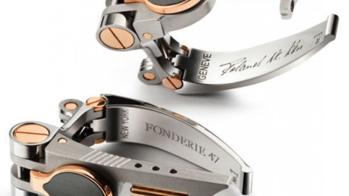 The Fonderie 47 Cufflinks made from AK-47 and Gold