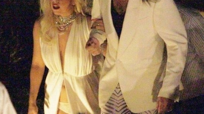 Lady Gaga with her boyfriend Luc Carl