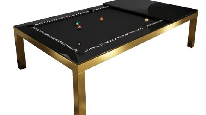 Ateliers Gohard dresses-up Fusion Convertible Pool table in gold