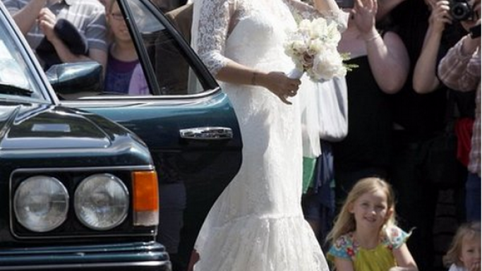 Allen was spotted wearing Rupert Sanderson white peep toe pumps for her grand wedding.