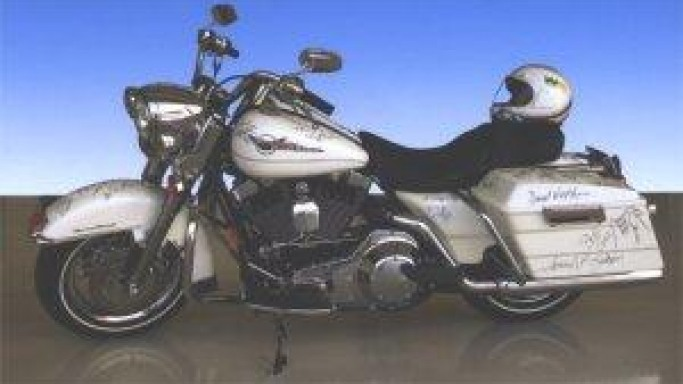 Celebrity Autographed Harley Davidson Motorcycle Up For Auction