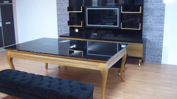 Koralturk's Luxury Gold pool table disguised as a dining table