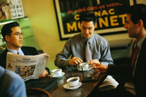 Businessmen Having Coffee