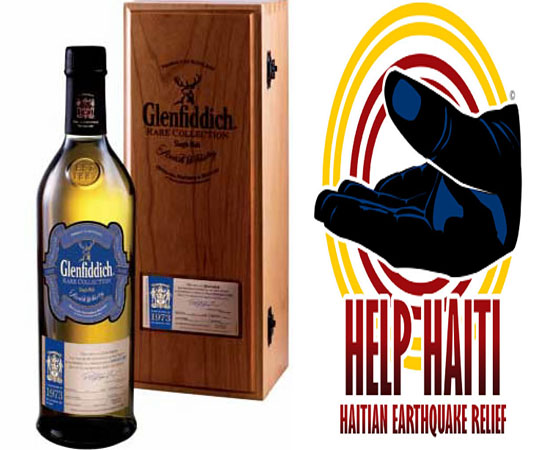 Glenfiddich bottles for Haiti support