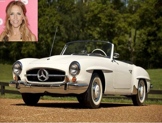 Sheryl Crow and her 1959 Mercedes Benz convertible