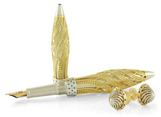 Jack Row yellow gold and sapphire pen