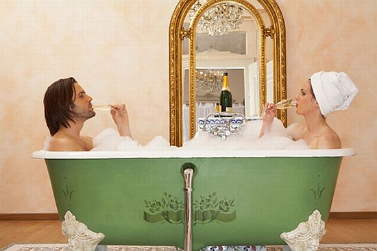 Champagne bath on Valentine's Day