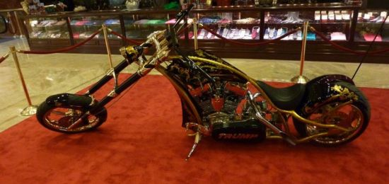 Custom chopper at the Red carpet