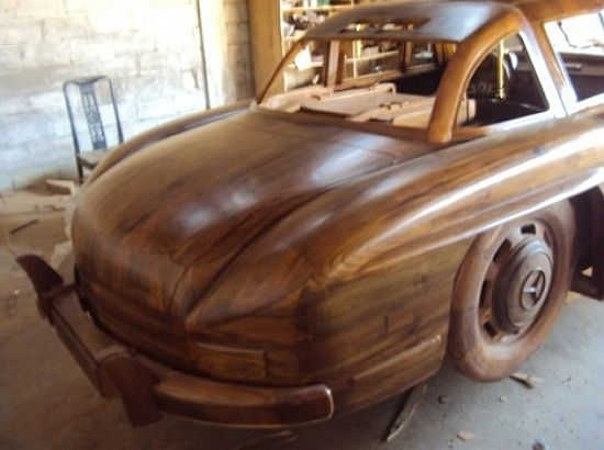Wooden 1955 Mercedes Benz 300SL Gullwing rear view