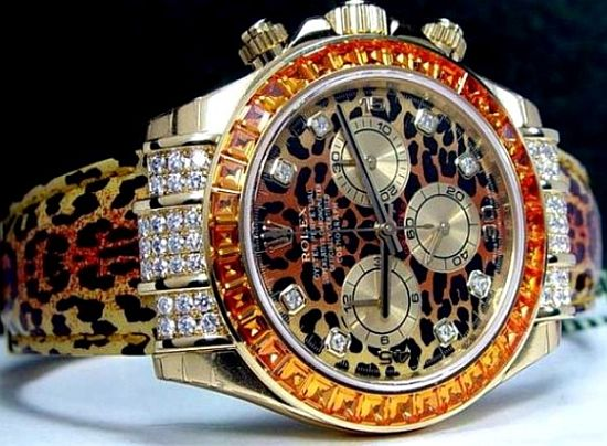 Custom leopard print diamond Rolex