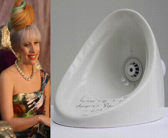 Lady Gaga's autographed urinal