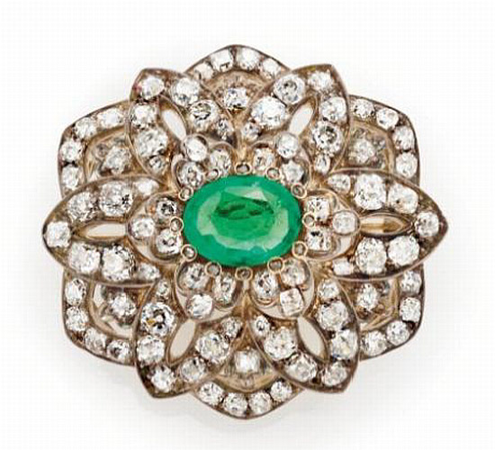 Diamond emerald silver gold brooch from 1880