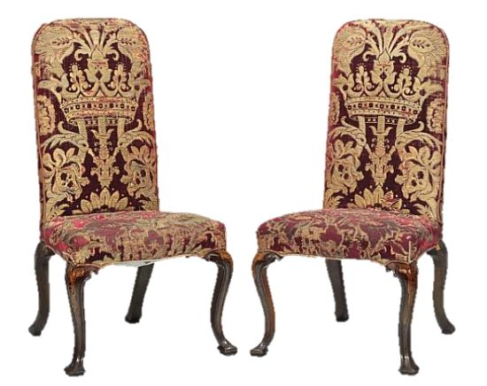 George I walnut with marquetry side chairs