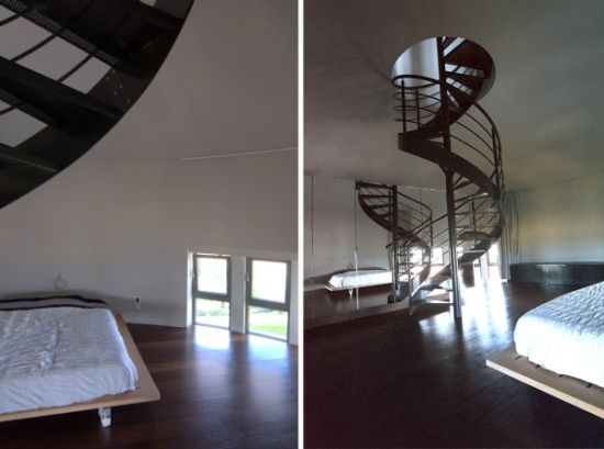 Bedroom with revolving stairs