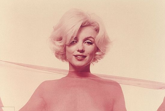 Marilyn Monroe with a sheer scarf