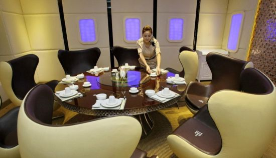 A380 themed airplane restaurant