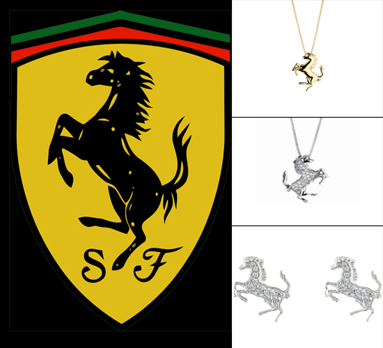 The famous Ferrari prancing horse and it's Jeweled versions