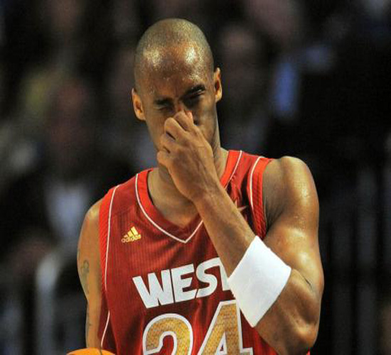 Kobe Bryant after being fouled by Dwyane Wade in a match