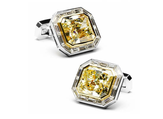 Canary diamond cufflinks