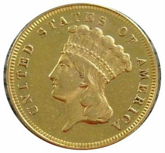 1870-S $3 gold coin