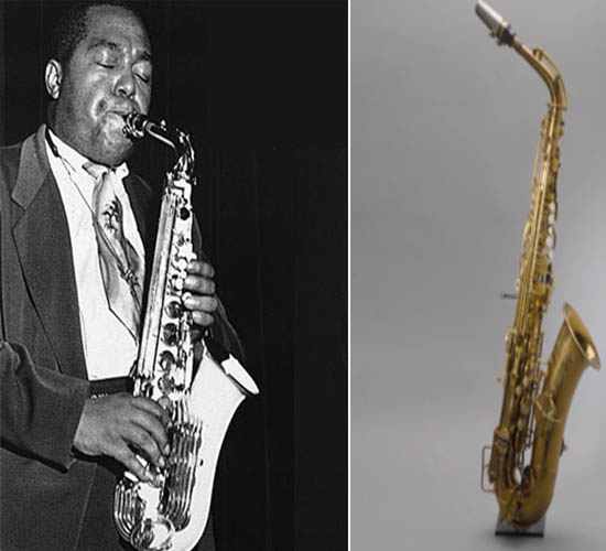 Charlie Parker playing his saxophone
