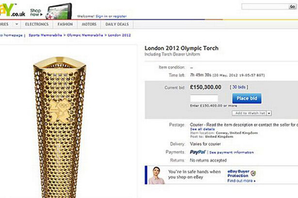 eBay page of Olympic torch bid