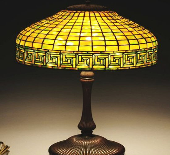 The Tiffany studios Greek key patterned lamp