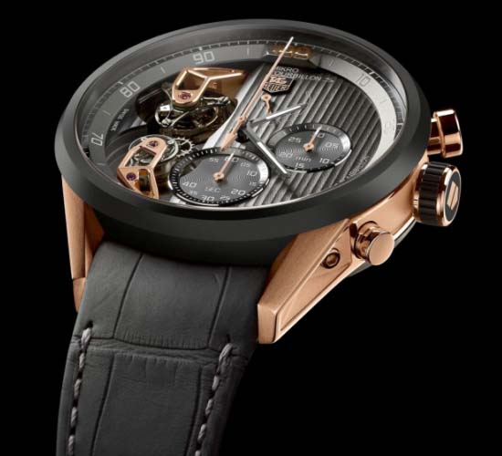 TAG Heuer Mikrotourbillon S wristwatch is equipped with two tourbillon
