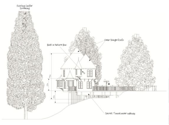 Drawing of proposed tree house