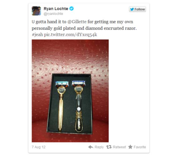 Ryan Lochte gets gold plated and diamond encrusted razors from Gillette